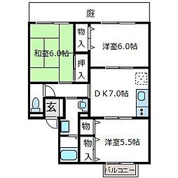大阪府八尾市老原4丁目の賃貸アパートの間取り