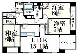 阪急神戸本線 芦屋川駅 徒歩2分の賃貸マンション 1階3LDKの間取り