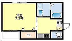 愛知環状鉄道 三河豊田駅 徒歩3分の賃貸アパート 2階1Kの間取り