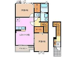 三重県桑名市新西方2丁目の賃貸アパートの間取り
