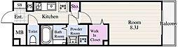 東京メトロ東西線 葛西駅 徒歩14分の賃貸マンション 5階1Kの間取り