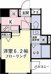ラッフィナート府中 4階1Kの間取り