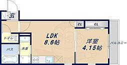 K´s Residence瓢箪山 1階1LDKの間取り
