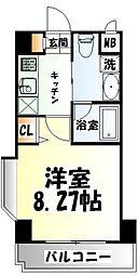 仙台市地下鉄東西線 川内駅 徒歩17分の賃貸マンション 2階1Kの間取り