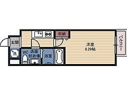 ドゥエリング都島 8階1Kの間取り