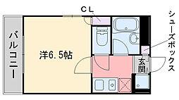 ユンゲルハイム姪浜[203号室]の間取り
