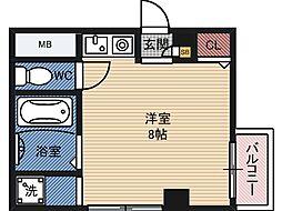 倉田ハイツ司 3階ワンルームの間取り