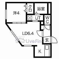 札幌市営東豊線 美園駅 徒歩3分の賃貸マンション 3階1LDKの間取り