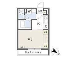 Clover House 2階1Kの間取り