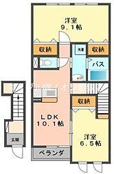 岡山県倉敷市玉島上成丁目なしの賃貸アパートの間取り