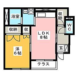 シャトー長沢II[1階]の間取り