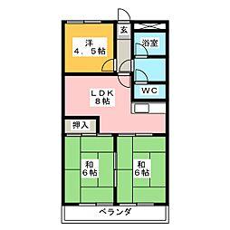 キャッスル伏見[4階]の間取り