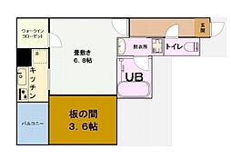 グリュックメゾン福島 3階1Kの間取り