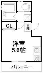 京阪本線 伏見稲荷駅 徒歩1分の賃貸アパート 2階ワンルームの間取り