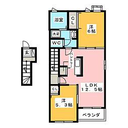 エトワール藤方 I[2階]の間取り