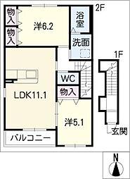 仮)川島松倉町新築アパートA棟[2階]の間取り