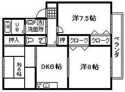 セジュール黒田2[212号室]の間取り