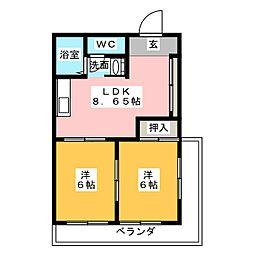 サンシャトー吉田[6階]の間取り