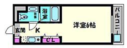 パティオ京橋 4階1Kの間取り