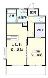 ラフィーネ桜館 3階1LDKの間取り