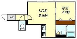 ORNIS南ヶ丘 2階1LDKの間取り