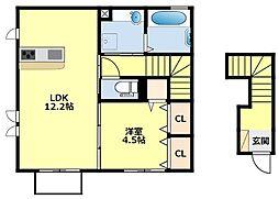 名鉄豊田線 浄水駅 徒歩9分の賃貸アパート 1階1LDKの間取り
