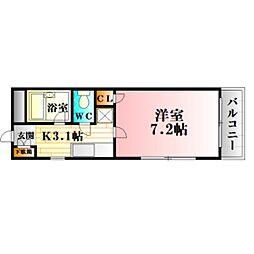 第二岡田ビル 2階1Kの間取り