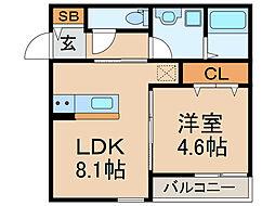 カーサラドリ博多南(新築) 3階1LDKの間取り