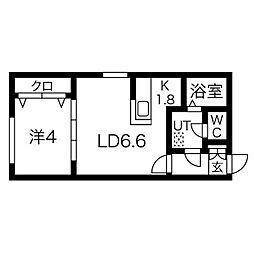 札幌市営東西線 バスセンター前駅 徒歩3分の賃貸マンション 5階1LDKの間取り