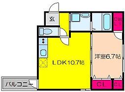 泉北高速鉄道 深井駅 徒歩2分の賃貸アパート 3階1LDKの間取り