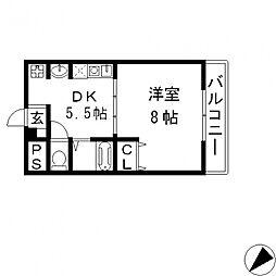 グランデージ長田東[201号室号室]の間取り