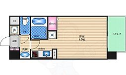 阪急千里線 天神橋筋六丁目駅 徒歩4分の賃貸マンション 4階ワンルームの間取り