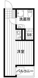 JR南武線 宿河原駅 徒歩9分の賃貸アパート 1階ワンルームの間取り