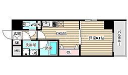 S-FORT福島EBIE 7階1DKの間取り