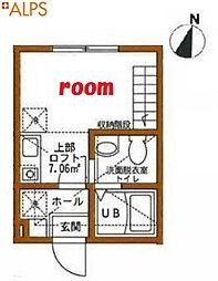 JR京浜東北・根岸線 石川町駅 徒歩4分の賃貸アパート 2階ワンルームの間取り