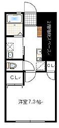 JR山陽本線 東岡山駅 徒歩12分の賃貸アパート 1階1Kの間取り