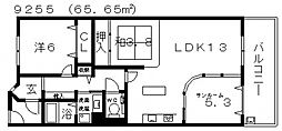 ルナコート富田林[605号室号室]の間取り