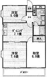 東京都世田谷区成城3丁目の賃貸マンションの間取り