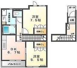 ピュアハウスII 2階2DKの間取り