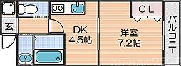 Osaka Metro四つ橋線 花園町駅 徒歩5分の賃貸マンション 2階1DKの間取り