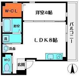 パールコートII 3階1LDKの間取り