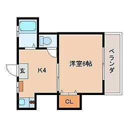 奈良県生駒市元町2丁目の賃貸アパートの間取り