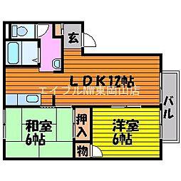 岡山県岡山市中区米田丁目なしの賃貸アパートの間取り