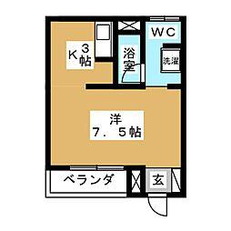 東急目黒線 武蔵小山駅 徒歩2分の賃貸マンション 2階ワンルームの間取り