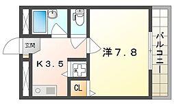 TAIHOレジデンス大日III 3階1Kの間取り