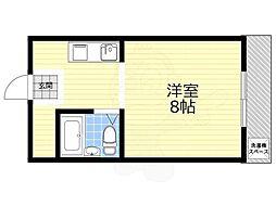 アジュールマンション 3階ワンルームの間取り