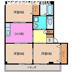 三重県津市高洲町の賃貸アパートの間取り