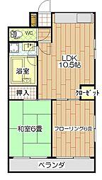 神奈川県横浜市鶴見区東寺尾6丁目の賃貸マンションの間取り