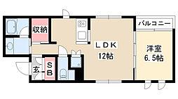 愛知県名古屋市瑞穂区佐渡町5丁目の賃貸マンションの間取り