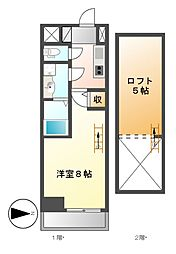 エステムコート名古屋栄デュアルレジェンド[4階]の間取り